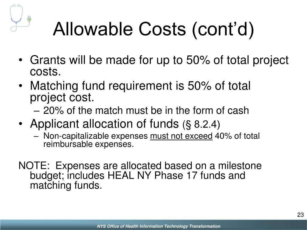 Allowable Costs (cont'd)