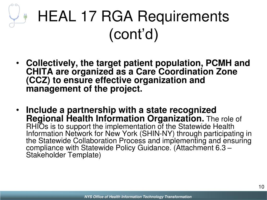 HEAL 17 RGA Requirements (cont'd)