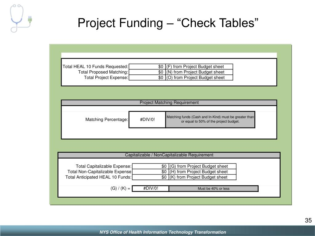 "Project Funding – ""Check Tables"""