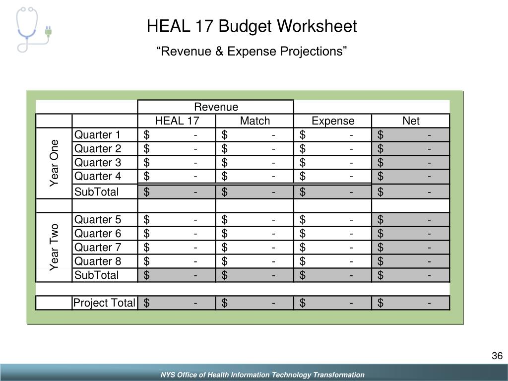 HEAL 17 Budget Worksheet