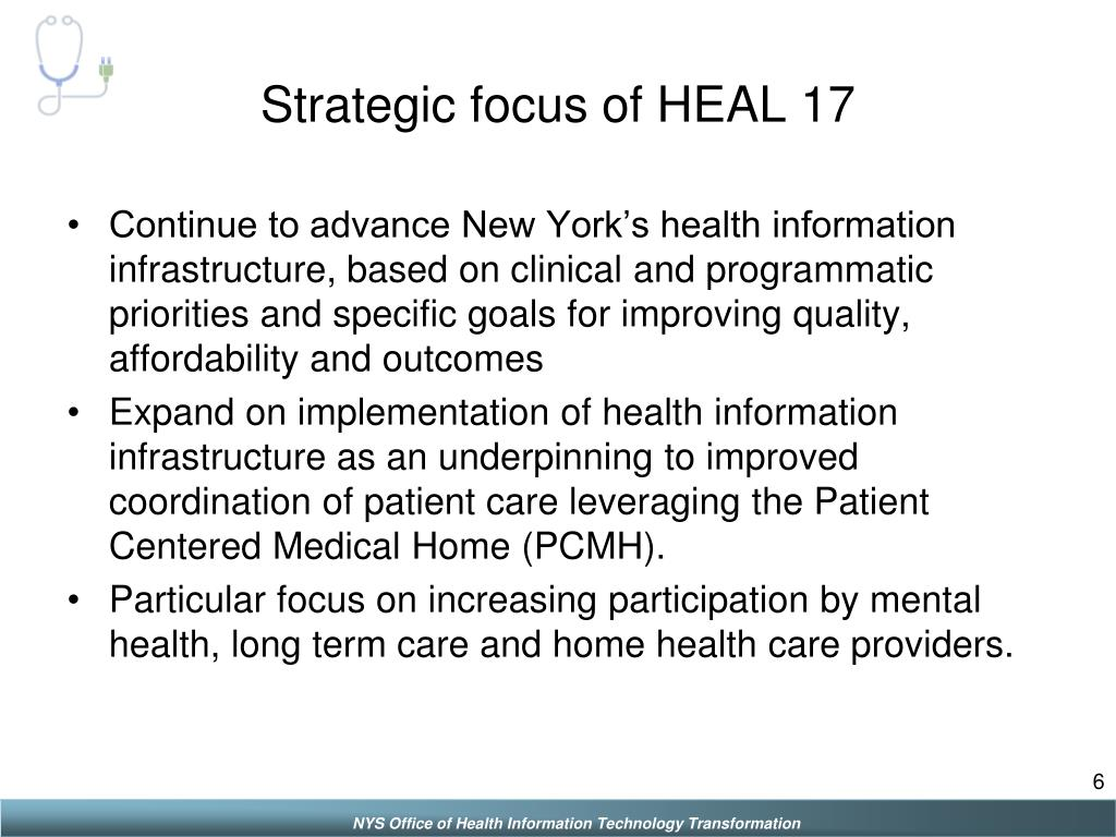 Strategic focus of HEAL 17