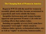 the changing role of women in america