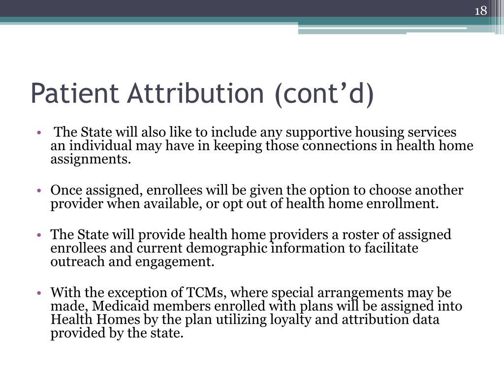Patient Attribution (cont'd)