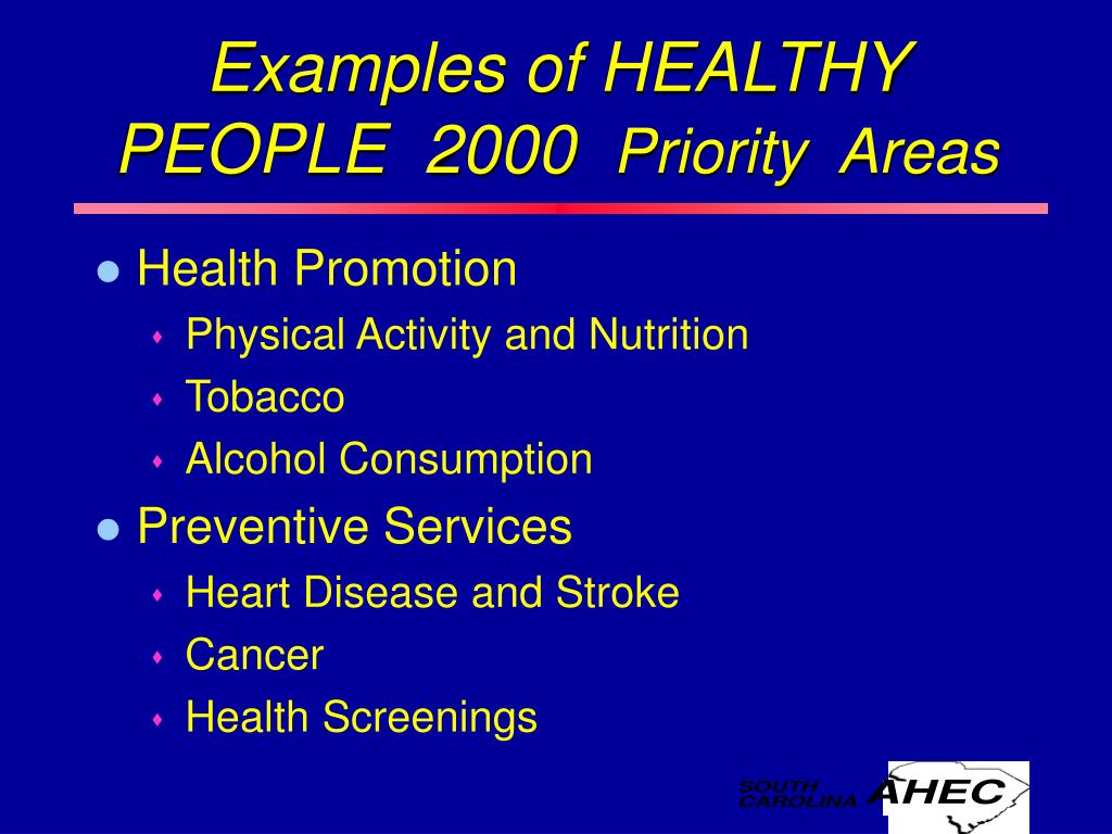 Examples of HEALTHY  PEOPLE  2000