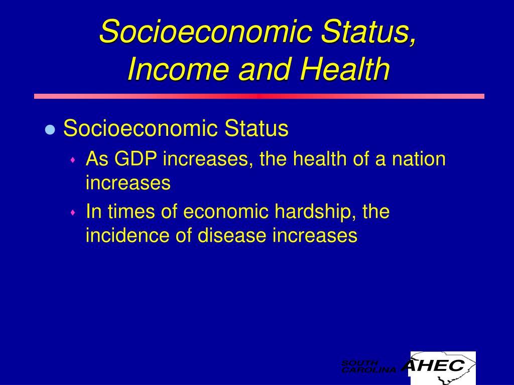 Socioeconomic Status, Income and Health