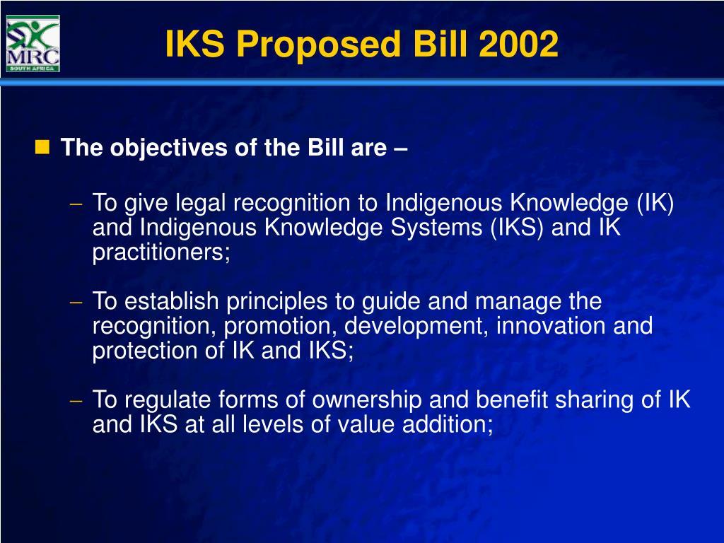 IKS Proposed Bill 2002