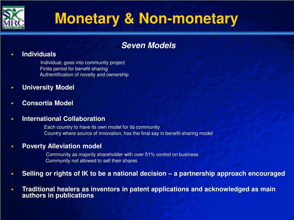 Monetary & Non-monetary