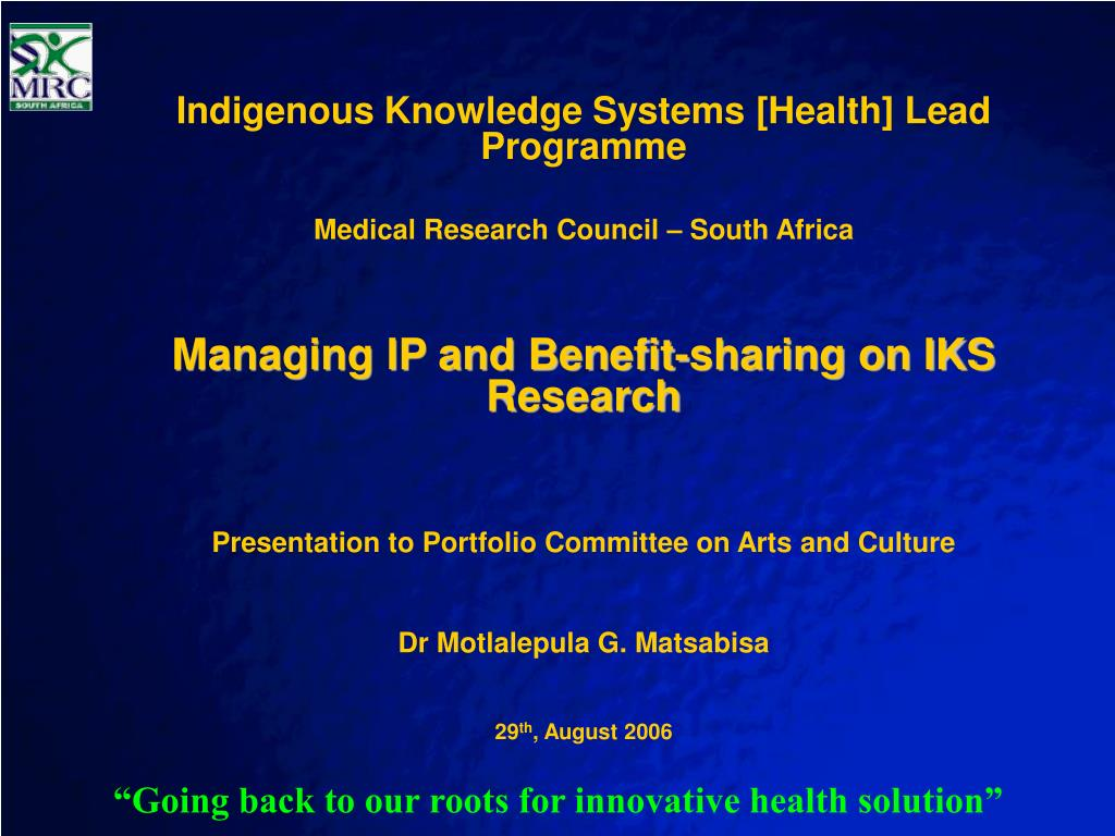 Indigenous Knowledge Systems [Health] Lead Programme