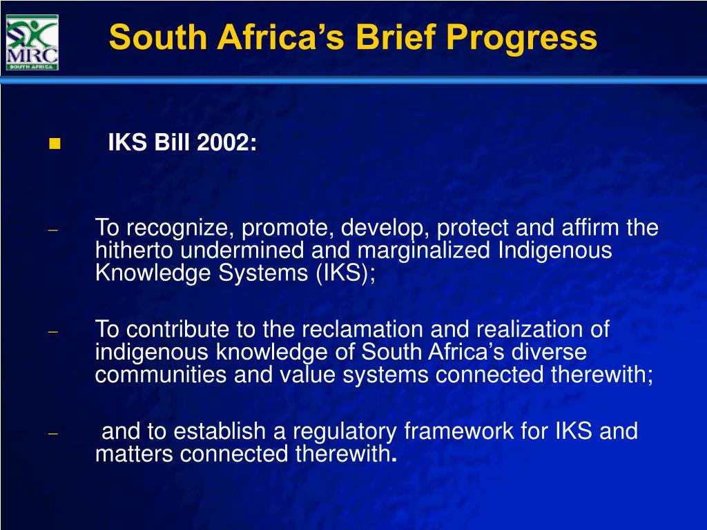 South Africa's Brief Progress