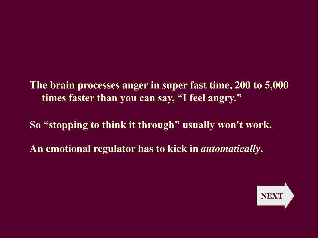 "The brain processes anger in super fast time, 200 to 5,000 times faster than you can say, ""I feel angry."""