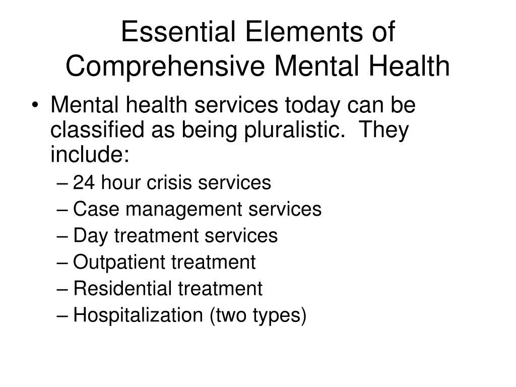 Essential Elements of Comprehensive Mental Health