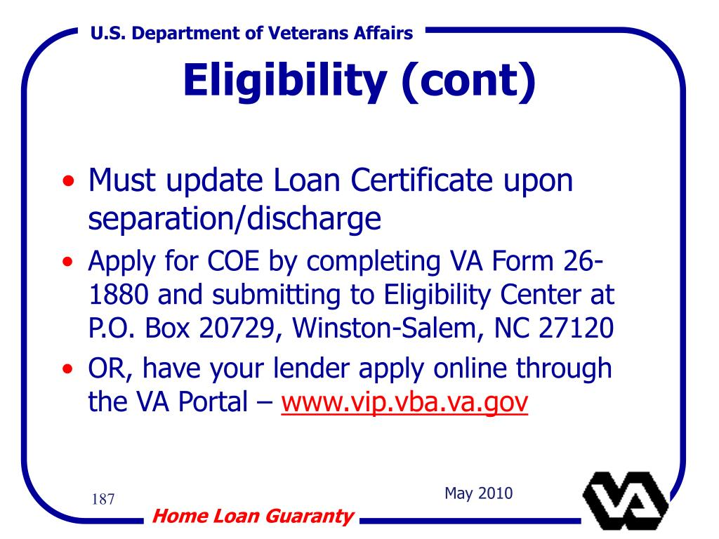 Must update Loan Certificate upon separation/discharge