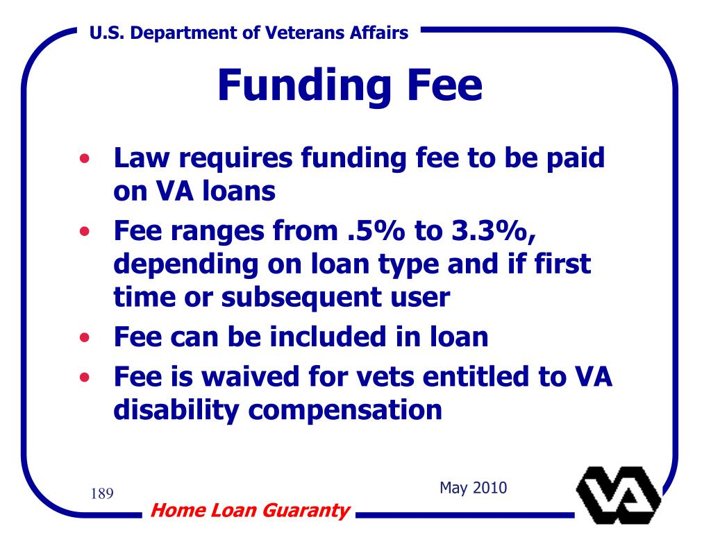Law requires funding fee to be paid on VA loans