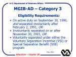 mgib ad category 3