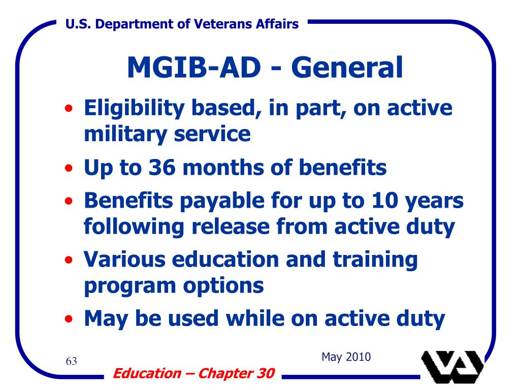 Eligibility based, in part, on active military service