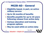 mgib ad general