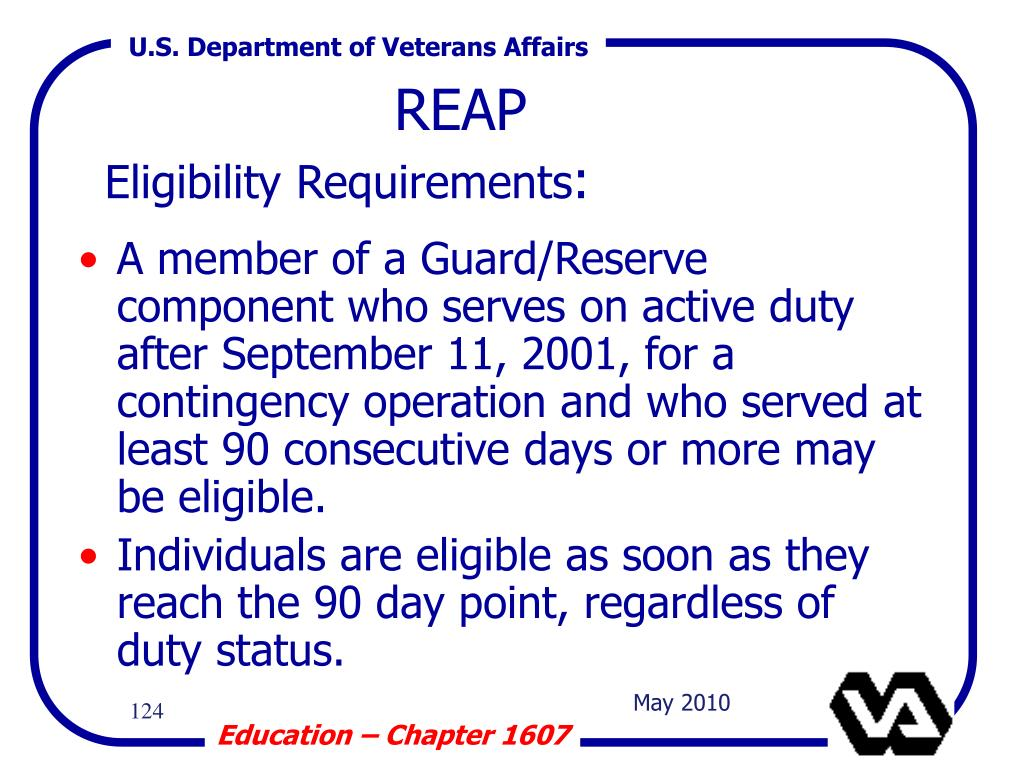 A member of a Guard/Reserve component who serves on active duty after September 11, 2001, for a contingency operation and who served at least 90 consecutive days or more may be eligible.