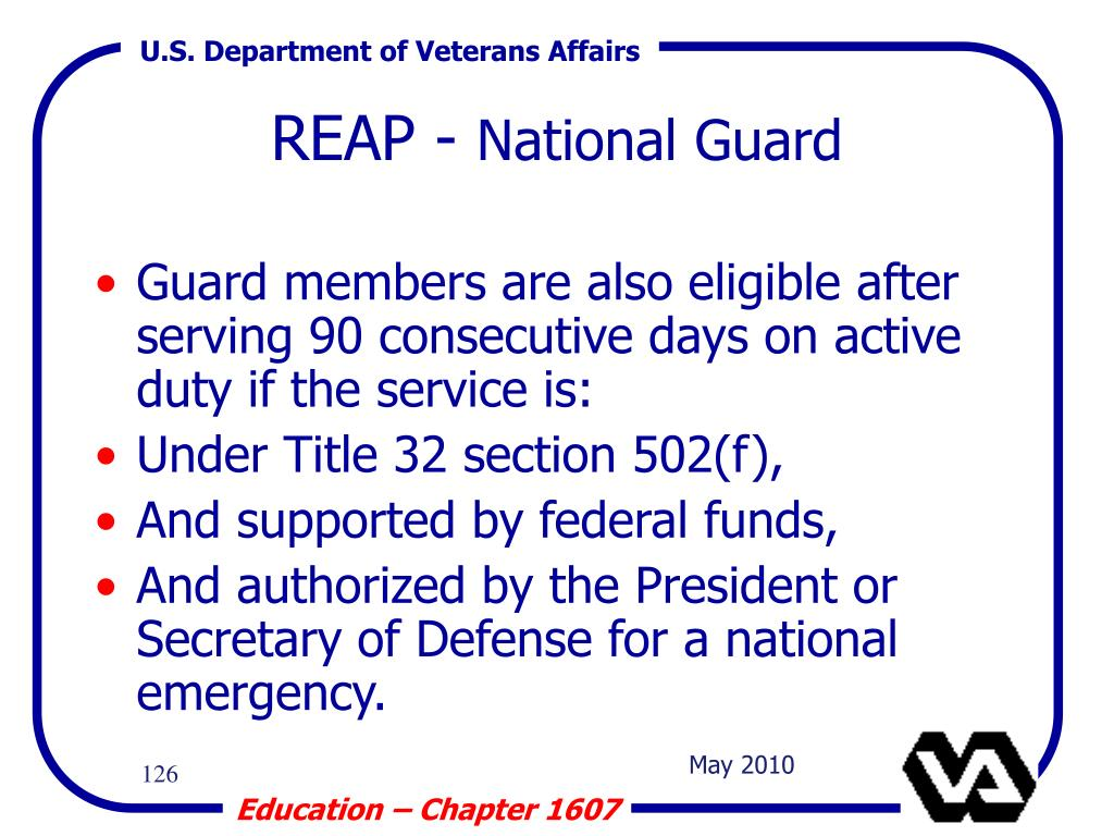 Guard members are also eligible after serving 90 consecutive days on active duty if the service is:
