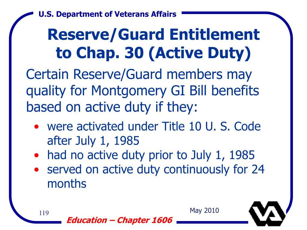 Reserve/Guard Entitlement