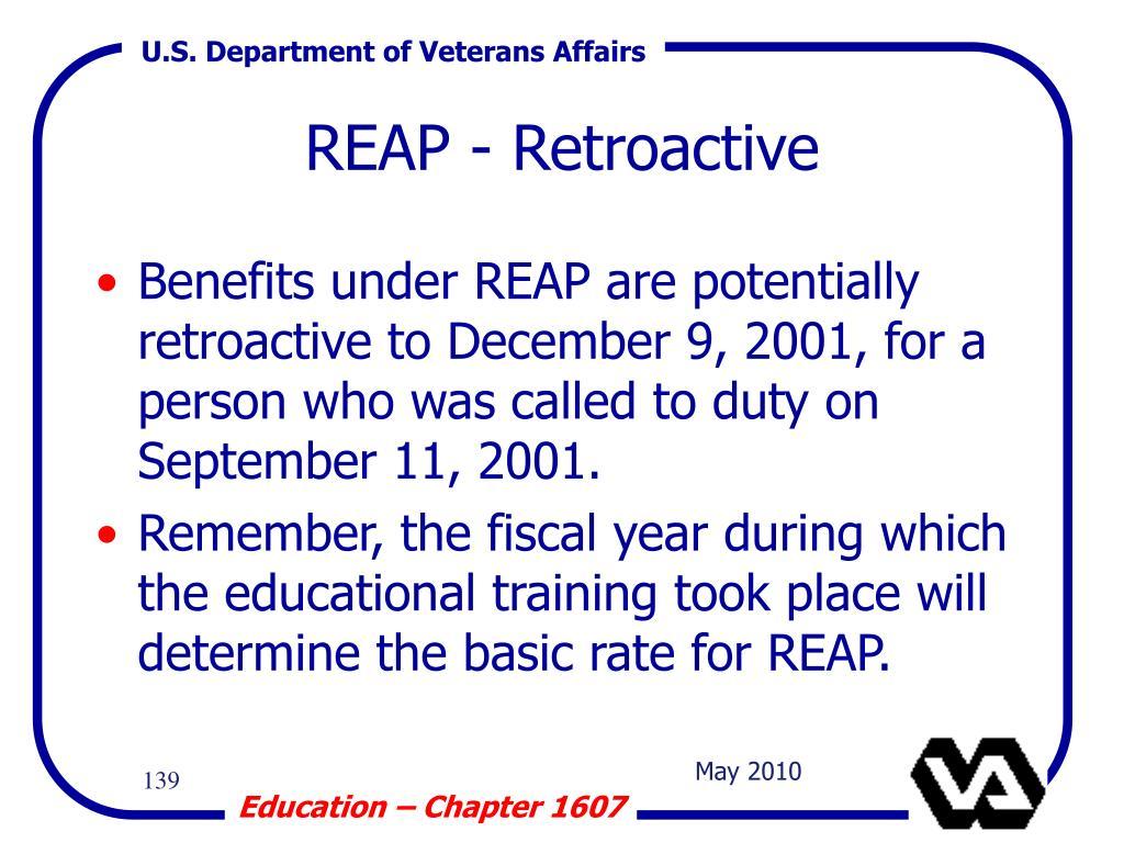 REAP - Retroactive