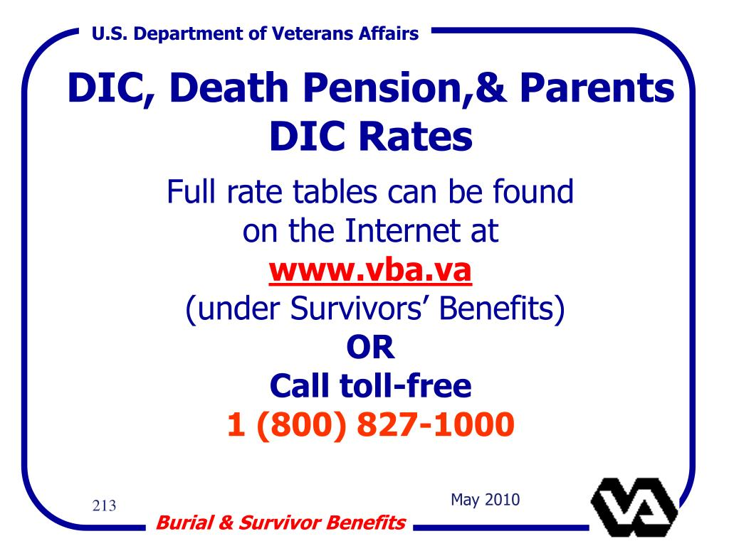 DIC, Death Pension,& Parents DIC Rates