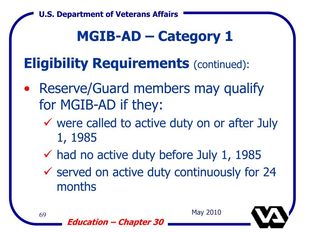 MGIB-AD – Category 1