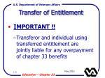 transfer of entitlement110
