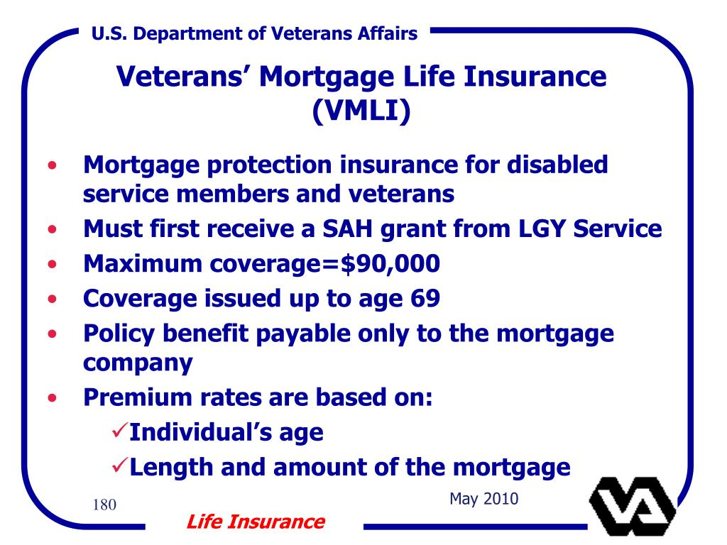 Mortgage protection insurance for disabled service members and veterans