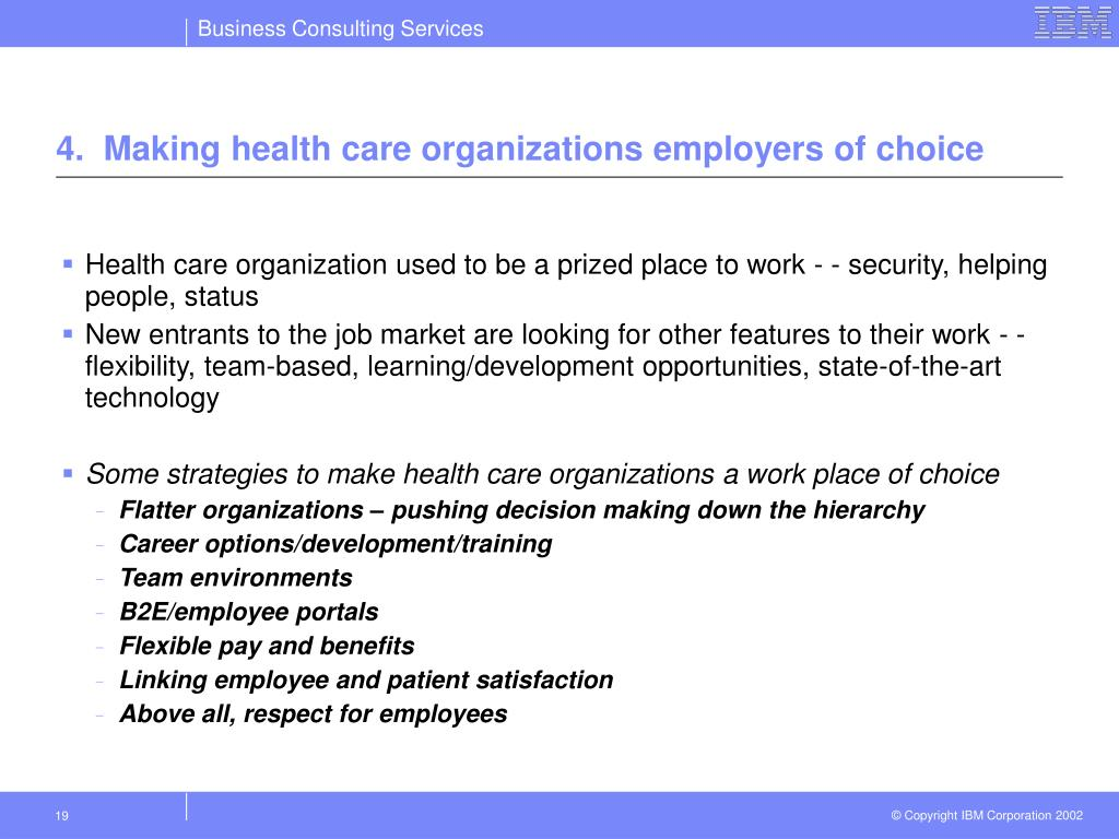 4.  Making health care organizations employers of choice