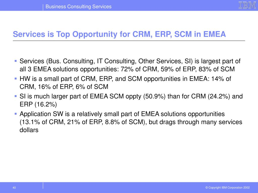 Services is Top Opportunity for CRM, ERP, SCM in EMEA