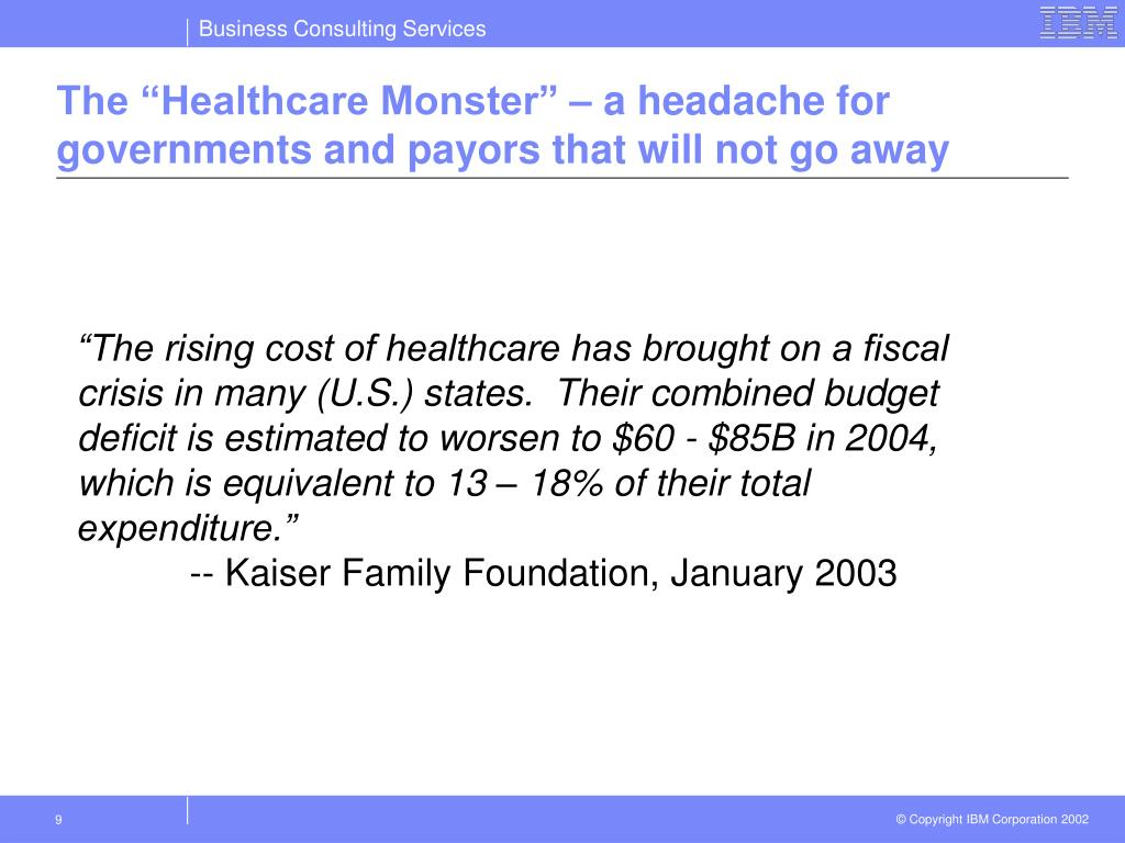 "The ""Healthcare Monster"" – a headache for governments and payors that will not go away"
