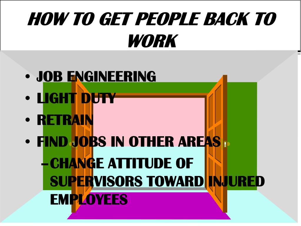 HOW TO GET PEOPLE BACK TO WORK