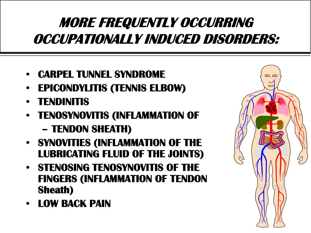 MORE FREQUENTLY OCCURRING OCCUPATIONALLY INDUCED DISORDERS: