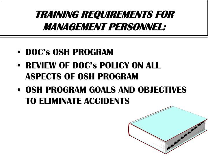 Training requirements for management personnel