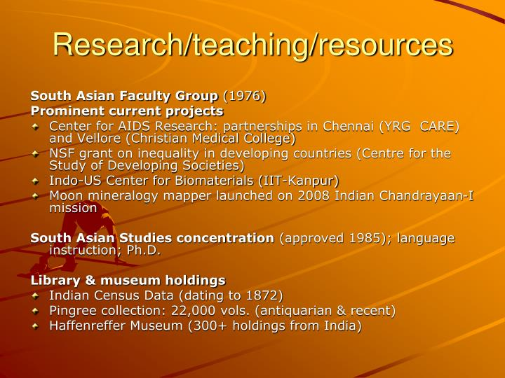 Research teaching resources