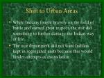 shift to urban areas