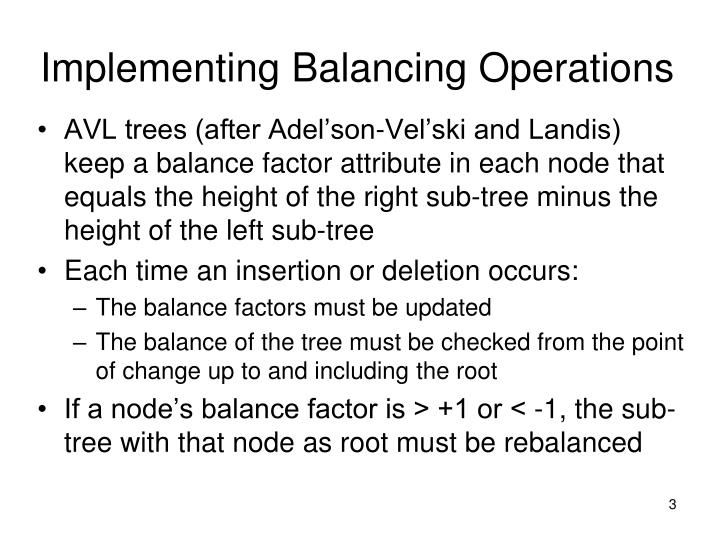 Implementing balancing operations3