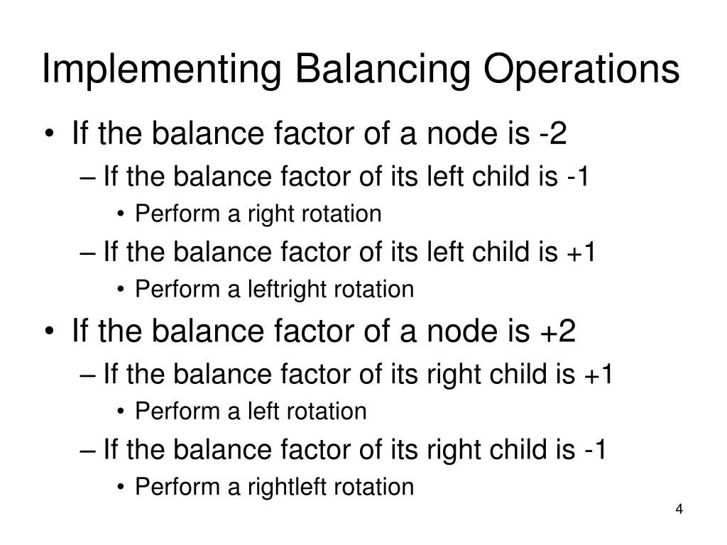 Implementing Balancing Operations