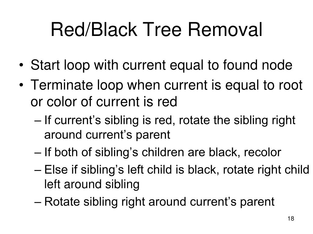 Red/Black Tree Removal