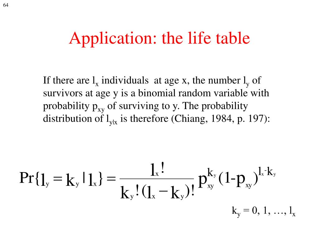 Application: the life table