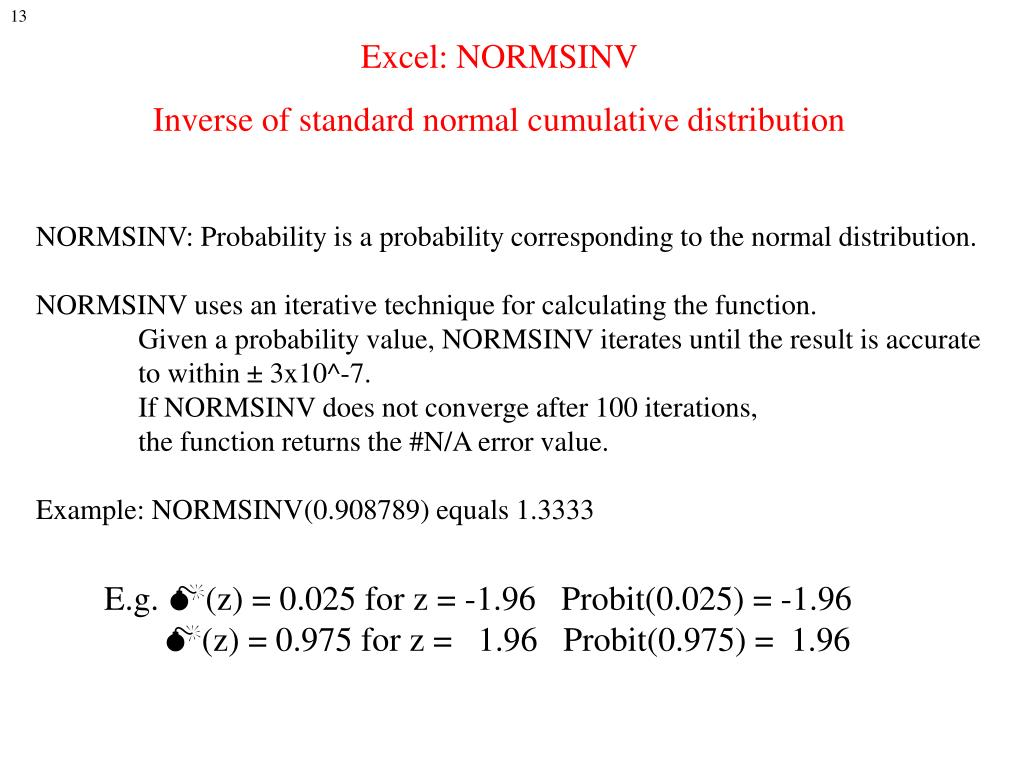 Excel: NORMSINV