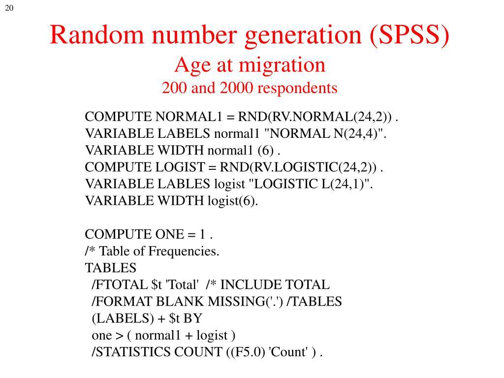 Random number generation (SPSS)