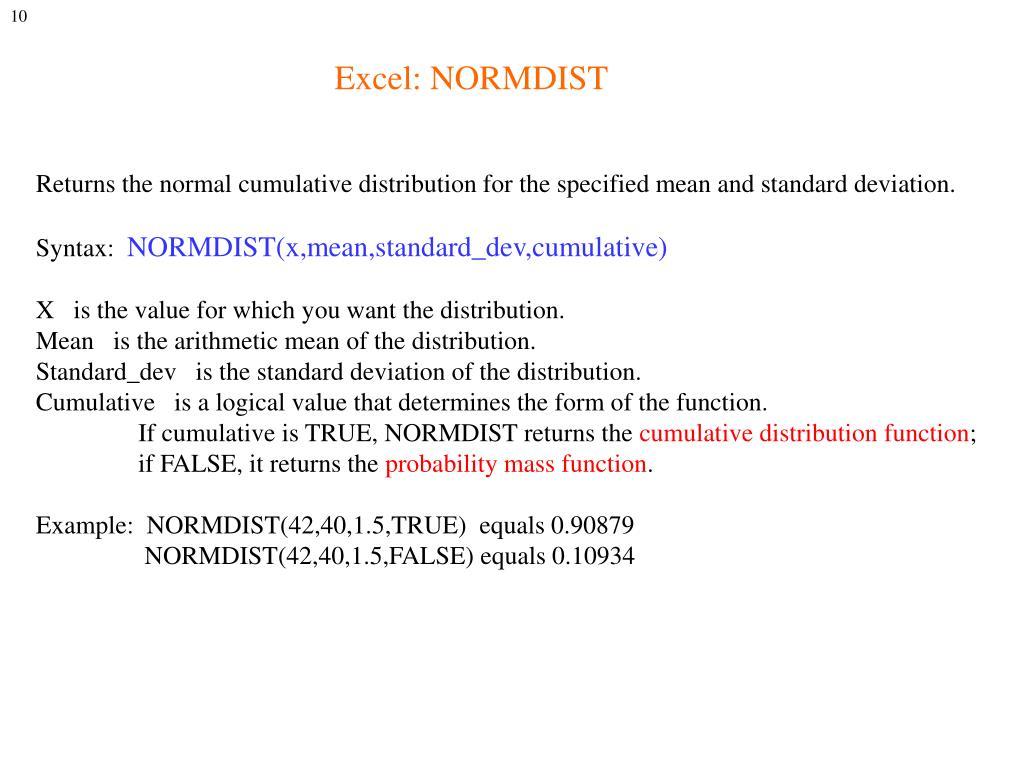 Excel: NORMDIST