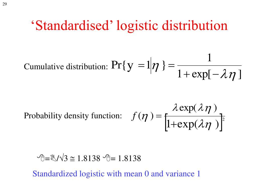 'Standardised' logistic distribution
