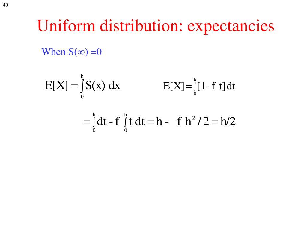 Uniform distribution: expectancies