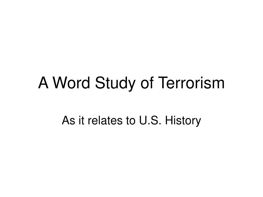 a word study of terrorism l.