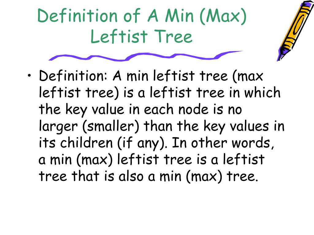 Definition of A Min (Max) Leftist Tree