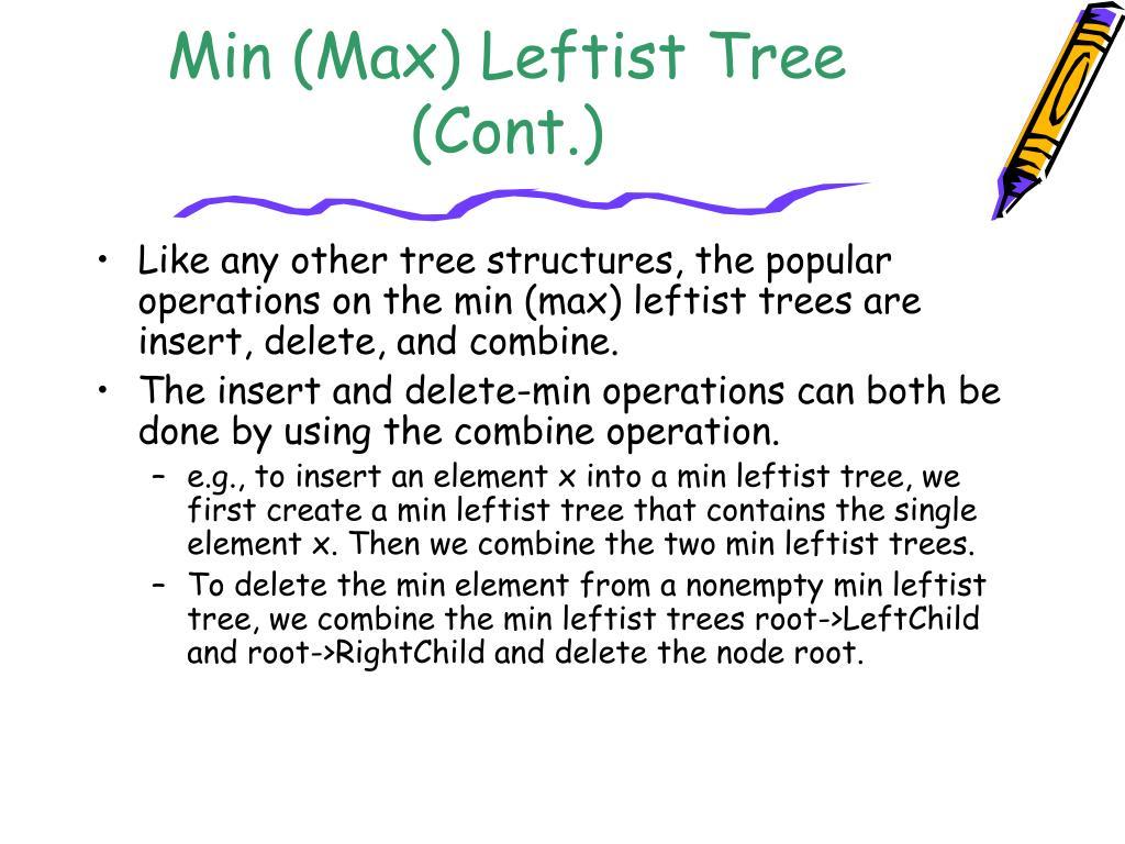 Min (Max) Leftist Tree (Cont.)