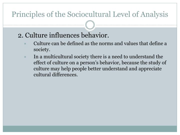 Principles of the sociocultural level of analysis3
