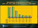 nicaragua malariometric indices api afi avi ami in all risk areas 1998 2004